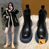 煙筒靴馬丁靴女薄款英倫風單靴厚底切爾西短靴【慢客生活】