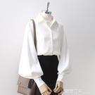 2020秋新款復古白色襯衫女燈籠袖設計感小眾上衣寬鬆翻領長袖襯衣 露露日記