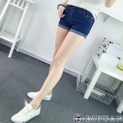 (女裝)牛仔短褲【YA0016】OBIYUAN素面百搭褲腳反摺單寧短褲共1色