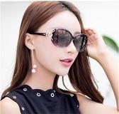 新款橢圓形狐貍鉆偏光太陽眼鏡女士防紫外線大框墨鏡潮 洛小仙女鞋