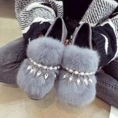 加絨保暖單鞋秋冬季2019新款同款毛毛鞋平底珍珠女鞋子豆豆鞋