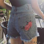 韓版花朵刺繡高腰毛邊牛仔褲短褲