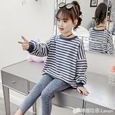 女童T恤 女童T恤新款春秋裝中大童長袖體恤兒童韓版秋裝百搭寬鬆上衣