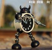 變形機器人鬧鐘創意學生小鬧鐘可愛兒童卡通鬧鐘臺鐘座鐘igo   夏洛特居家