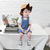 男童褲子2018新款潮裝寶寶牛仔吊帶褲夏薄款童裝春秋兒童嬰兒短褲   LannaS