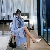 長袖洋裝RPIN寬鬆長袖襯衫連身裙配披肩俏皮減齡韓版氣質文藝單排扣襯衣裙 童趣屋  新品