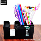 INPHIC-吸管盒黑色紙巾多用塑膠吧台杯墊_teZp