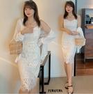 (現貨+預購FUWAFUWA)-加大尺碼純色蕾絲細肩帶吊帶裙