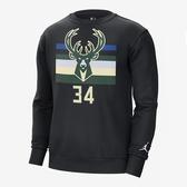 Nike 男 NBA 公鹿隊 ANTETOKOUNMPO 字母哥 籃球 刷毛 長袖 上衣 DC0814-010