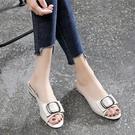 魚口鞋 2021款中低跟涼拖鞋女外穿家居防滑夏季簡約時尚百搭軟皮魚嘴粗跟 美物