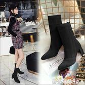 尖頭靴 2018春秋季新款尖頭粗跟短靴女針織靴黑色顯瘦中筒靴彈力高跟鞋子 芭蕾朵朵