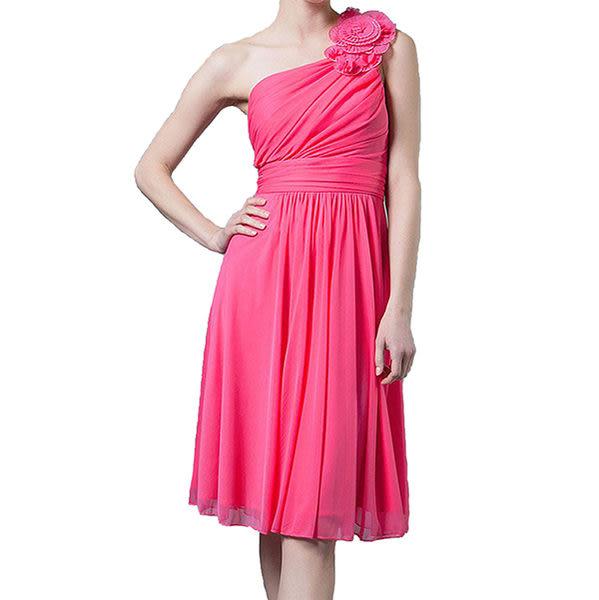 『摩達客』美國進口Landmark斜肩花朵浪漫桃粉派對小禮服/洋裝(含禮盒)(1831395010)