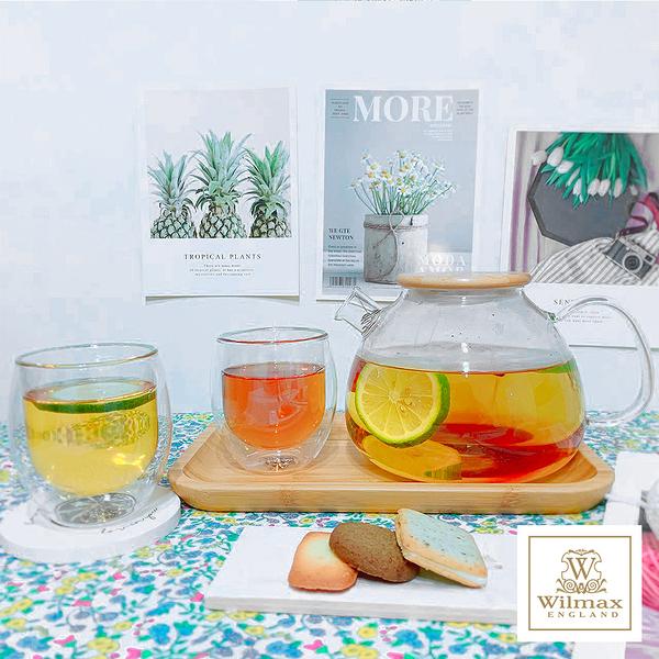 【英國WILMAX】日式茶濾短嘴竹蓋把手耐熱玻璃壺/花茶壼1500ML(贈雙層玻璃杯2入組附木質輕食盤)