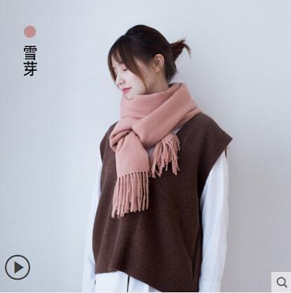羊毛圍巾女冬季韓版百搭長款