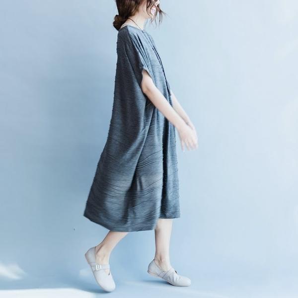 漂亮小媽咪 韓版長裙 【D7951YB】 簡約 寬鬆 短袖 長裙 孕婦裝 孕婦長洋裝 孕婦 加大尺碼