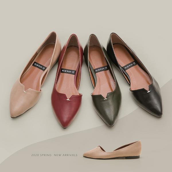 包鞋.簡約風V口縫線造型平底包鞋-FM時尚美鞋-JJ.cheek