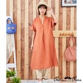 【Tiara Tiara】百貨同步新品aw 深V領打摺素色洋裝(橘紅/深藍)