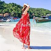 沙灘裙女夏2021新款大碼顯瘦海邊度假雪紡吊帶長裙連衣裙 送腰帶 快速出貨