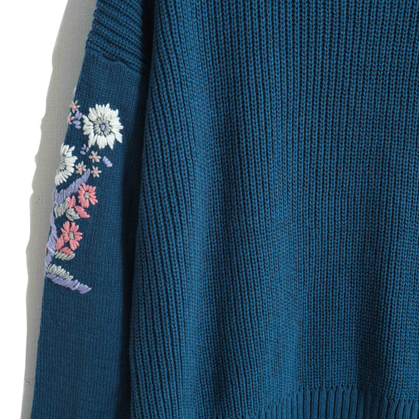3折出清[H2O]前短後長袖上有手縫刺繡休閒風中長版毛衣 - 紅/深藍/淺藍色 #8630028