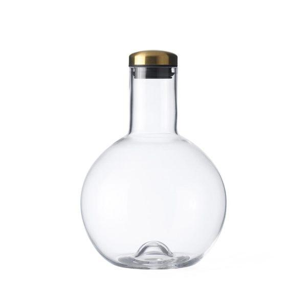 丹麥 Menu Bottle Round Carafe 1.4L with Brass Lid 晶漾玻璃系列 圓球 水壺 / 果汁壺