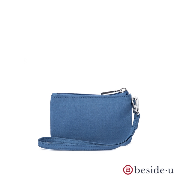 beside u BNUAS 素面手拿包卡片夾零錢包隨身包附手腕帶-單寧藍色 原廠公司貨