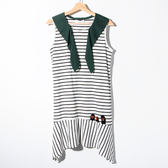 【Dailo】條紋荷葉背心洋裝