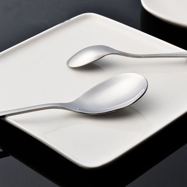 PUSH! 餐具用品不銹鋼水滴型湯匙勺子湯勺餐具 1號2pcs套組 E38