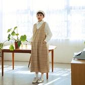 Queen Shop【01085409】暖色系大格紋V領背心長洋裝*現+預*