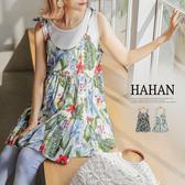 【HA6075】繽紛花朵圖騰綁帶傘狀上衣