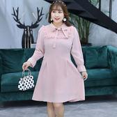 ★韓美姬★中大尺碼~氣質收腰大擺半透網紗長袖洋裝(XL~4XL)