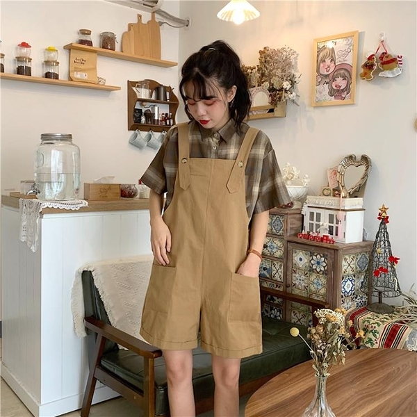 吊帶褲 吊帶褲女韓版寬鬆2020新款夏季學院風時尚直筒小個子學生牛仔短褲
