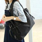 黑色大包簡約單肩側背包大容量牛津布包女包休閒包旅行袋