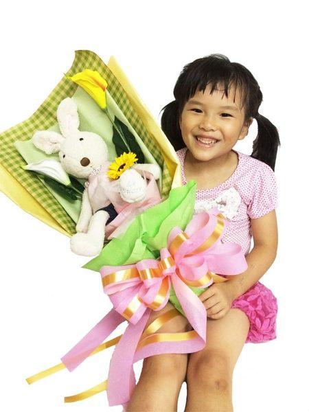 娃娃屋樂園~直立式-45cm法國兔砂糖兔花束 每束1100元/花束商品/香皂花束