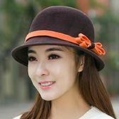 漁夫帽-英倫復古優雅蝴蝶結毛呢女帽子5色72b8[巴黎精品]