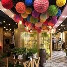 店慶開業仿真玫瑰花球掛飾 秋季絹花假花裝飾 商場酒元旦吊頂布置
