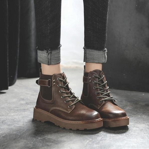 2020年秋冬季百搭新款復古馬丁靴女英倫風厚底帥氣時尚潮流短靴【快速出貨】