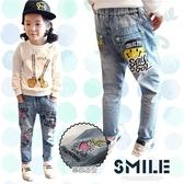 大童中性款-童趣微笑棒球帽塗鴉電繡牛仔長褲(280494)★水娃娃時尚童裝★