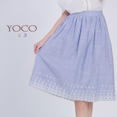 東京著衣【YOCO】自訂款下襬刺繡棉麻感及膝裙-XS.S.M(6016024)