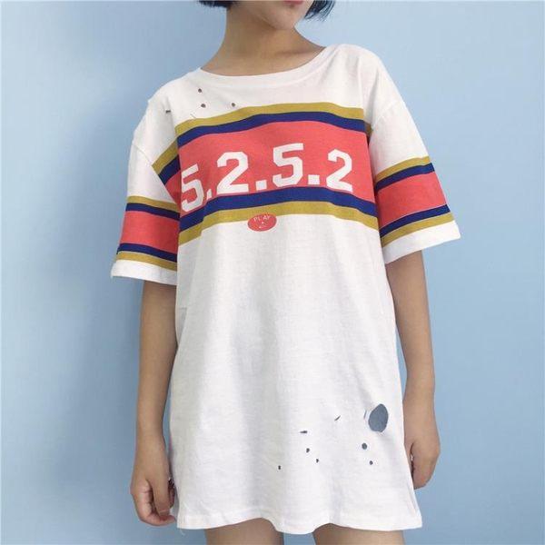 [超豐國際]夏季數字印花鏤空破洞中長款上衣女學生寬松短袖T恤1入