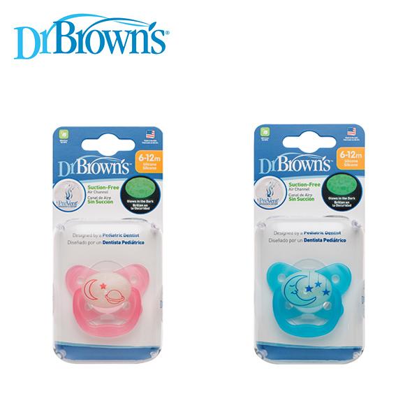 Dr. Browns布朗醫生 PreVent功能性夜光安撫奶嘴 6~12月(1入)附收納蓋~粉/藍