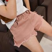 女童牛仔短褲夏破洞中大童兒童夏季韓版白色棉外穿百搭寬鬆熱褲子