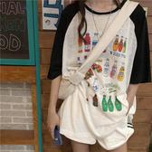 韓系女裝 手繪插畫拼接撞色短袖T恤【C1093】韓妞必備 百搭顯瘦基本款 阿華有事嗎