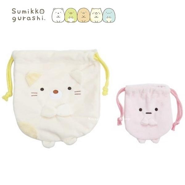 日本限定 SAN-X 角落生物 貓咪 & 珍珠 束口袋 / 收納袋 2入套組