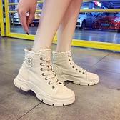 ins網紅馬丁靴女2020秋新款英倫風復古厚底繫帶機車靴時尚短筒靴 開春特惠