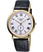 LONGINES 浪琴 Presence 經典小秒針機械腕錶/手錶-金/黑 L48052112
