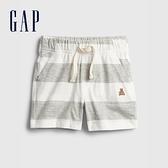 Gap嬰兒 清爽條紋透氣短褲 939854-灰色條紋