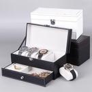 手錶收納盒 檀韻致遠碳纖維雙層珠寶首飾盒4位手表盒項鏈戒指收納包裝盒【快速出貨八折下殺】