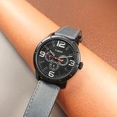 TIMEX 天美時 / TXTW2U15200 / 經典系列 三眼三針 星期日期 礦石強化玻璃 真皮手錶 黑x藍灰 44mm