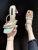 網紅涼拖鞋女夏季新款韓版時尚露趾水鑚粗跟方頭拖女  【快速出貨】
