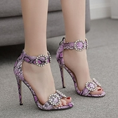歐美性感紫色蛇紋細跟水鉆一字扣帶高跟涼鞋女 夜店舞臺表演高跟鞋